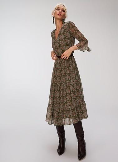 People By Fabrika Volanlı Kruvaze Elbise Haki